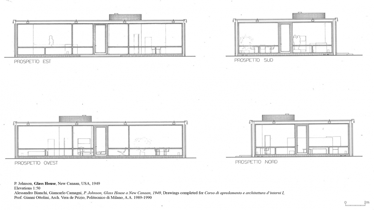 Philip johnson glass house plan