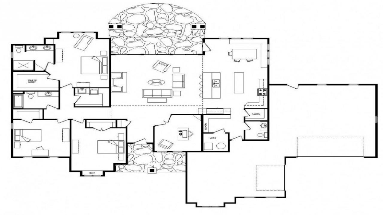 Open floor plans one level homes open floor plans small for 4 bedroom log home floor plans