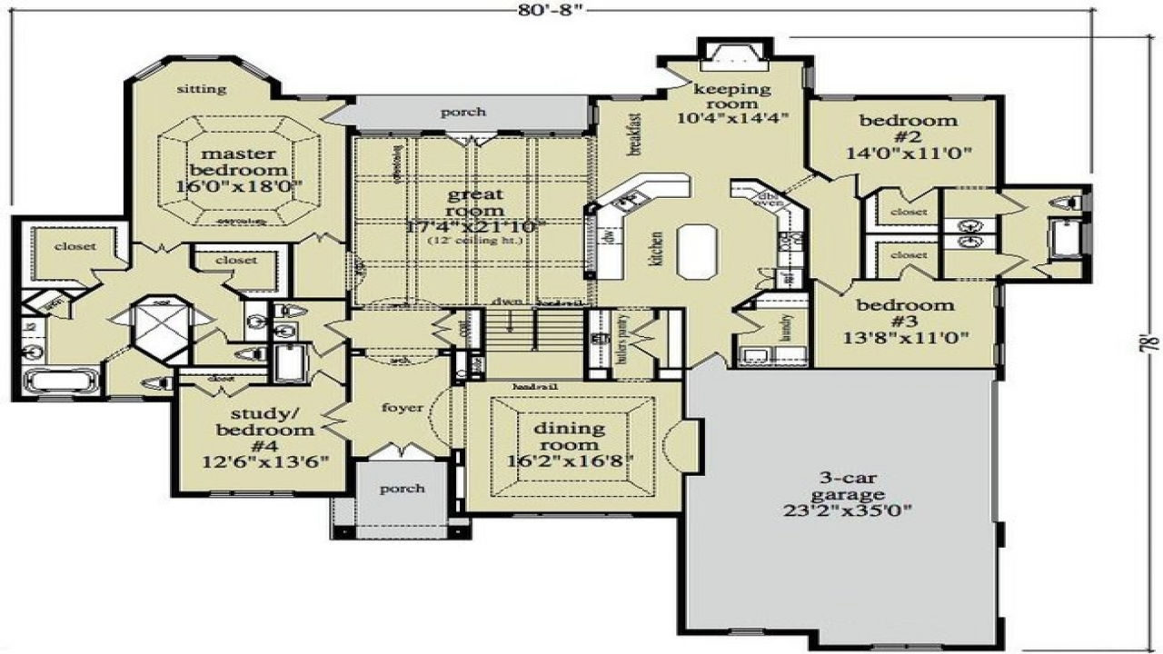 Open Ranch Style Home Floor Plan One Level Ranch Style Home Country Home Plans One Story