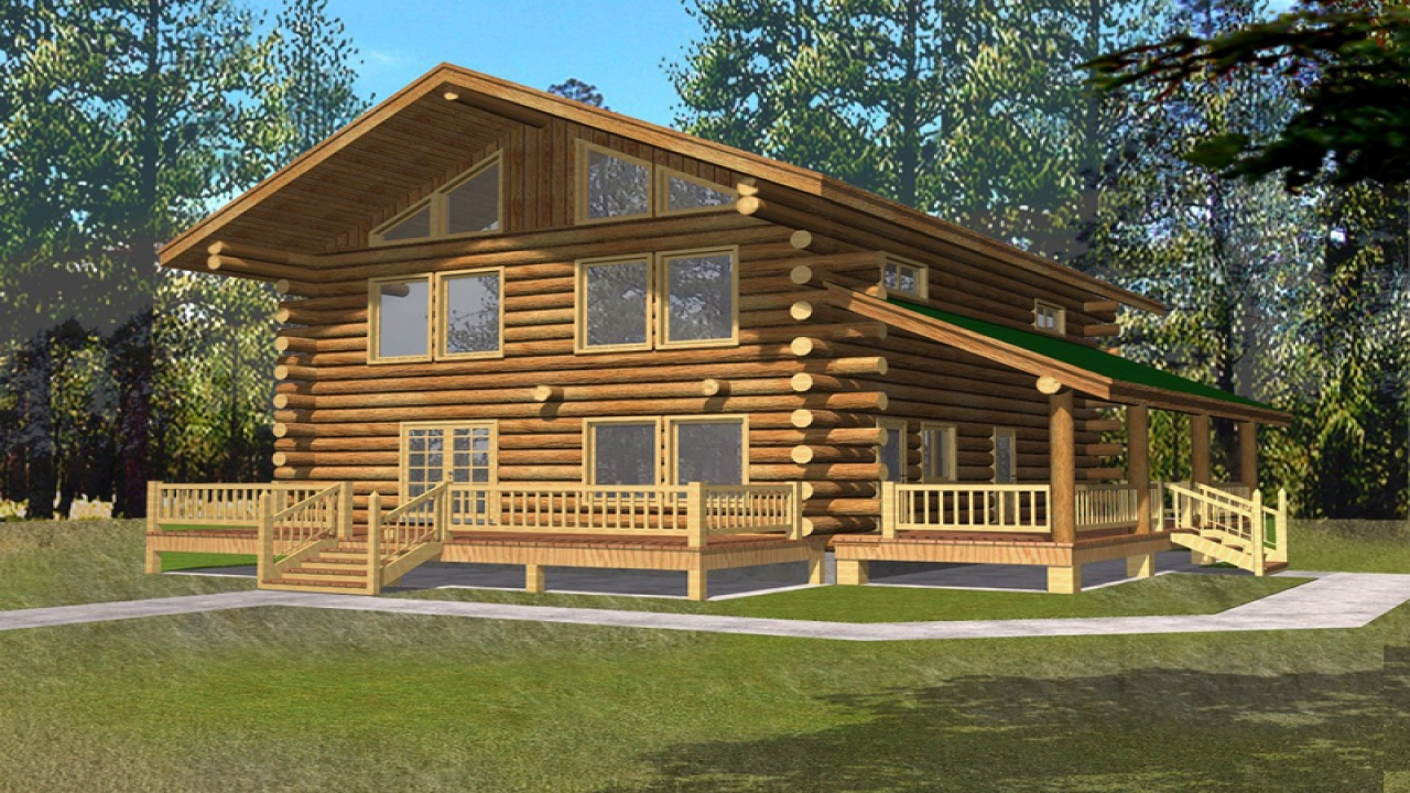 Single story log cabin house plans log cabin house plans for One story log homes