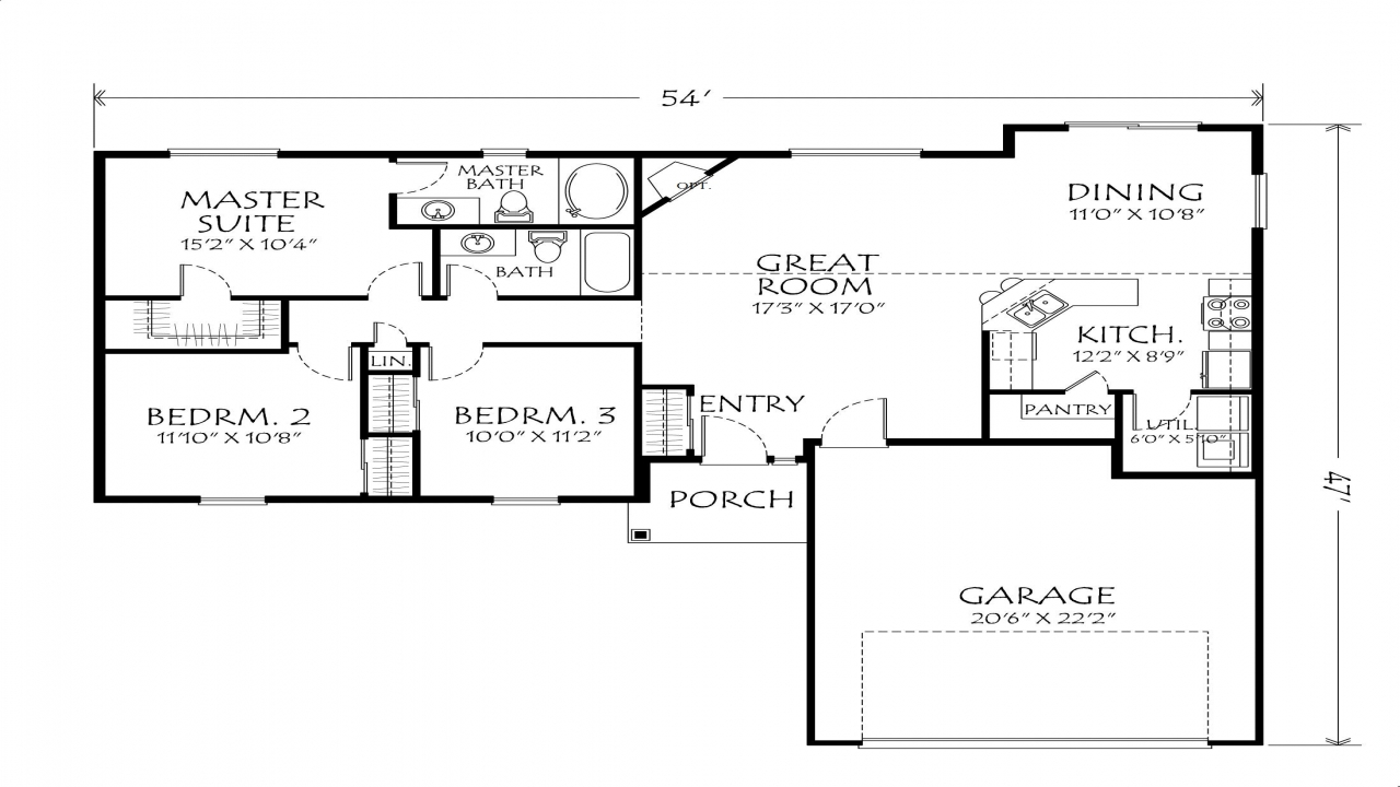 Single story open floor plans single story open floor for One story open floor plans