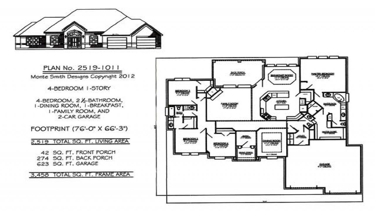 1 Story House Plans with 4 Bedrooms Simple One Story House ...