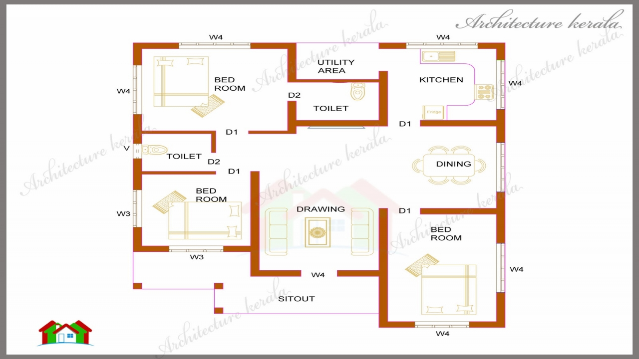 Kerala House Plan 1200 Square Feet 1200 Sq Ft 3 Bedroom 2 Bath Floor Plans House Plans 1200