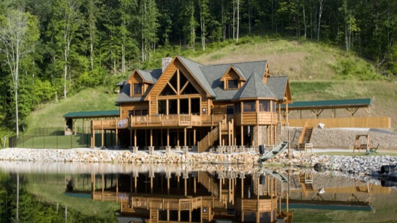 Log lake home house plans lake log cabin homes log lodge for 123 cabins