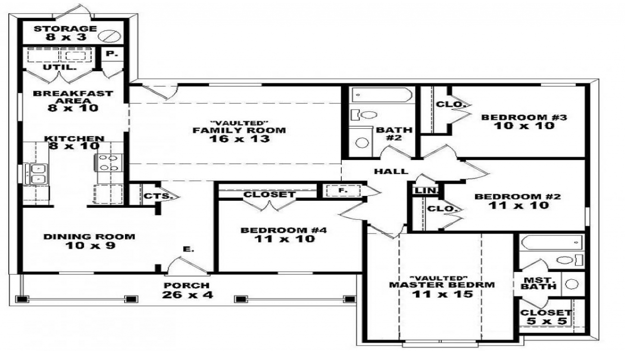 Long Lots Blueprints 3 Bedroom 1 Story 4 Bedroom 2 Story