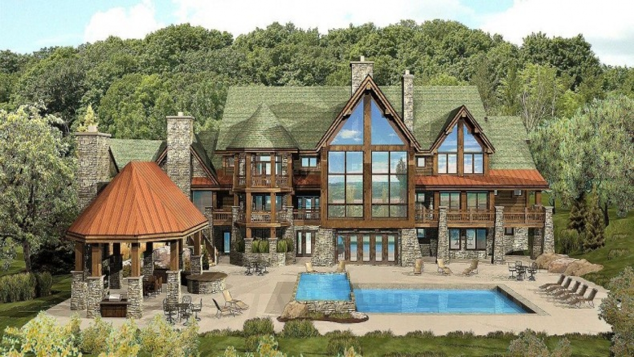 Luxury log cabin home floor plans best luxury log home for Luxury mountain home floor plans