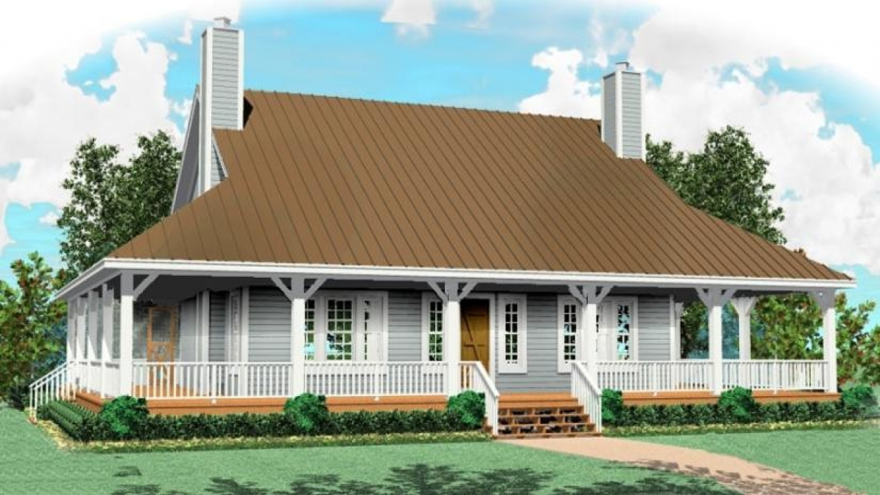 One and a half story house plans with porches one story for House plans for rural properties