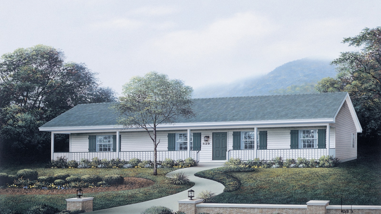 Ranch style house plans with front porch economical ranch for Economical ranch house plans
