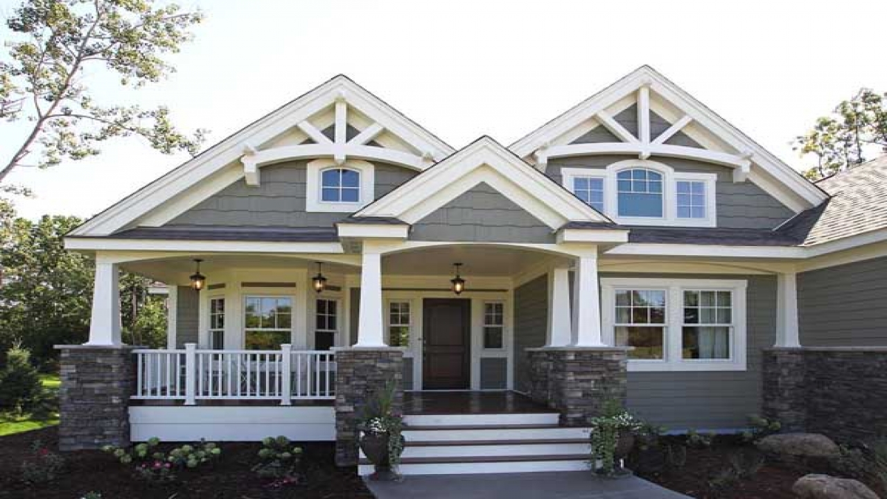 Single story craftsman house plans home style craftsman for Two story craftsman homes