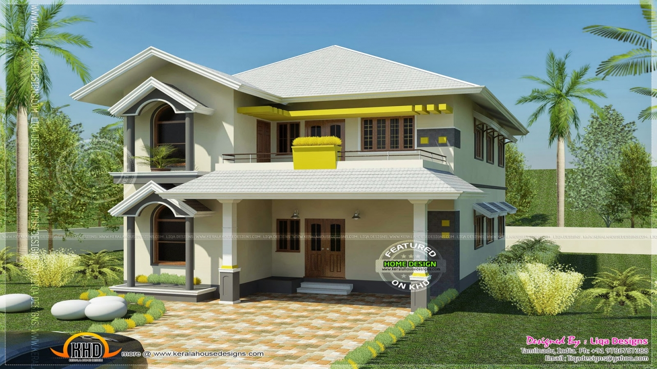 South indian house design with porticos best indian house for South indian small house designs