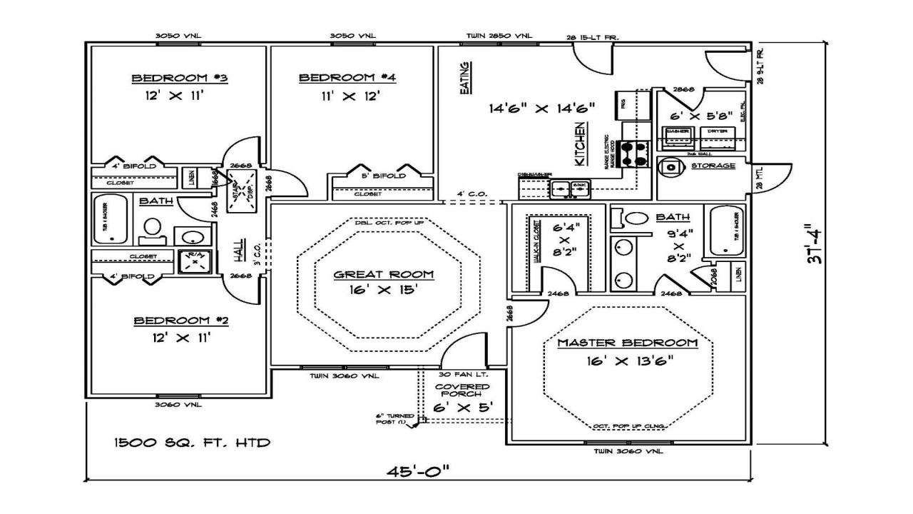 1500 Sq Ft 4 Bedroom House Plans Open Concept House Plans 1500 Sq Ft House Plan 1500 Sq Ft