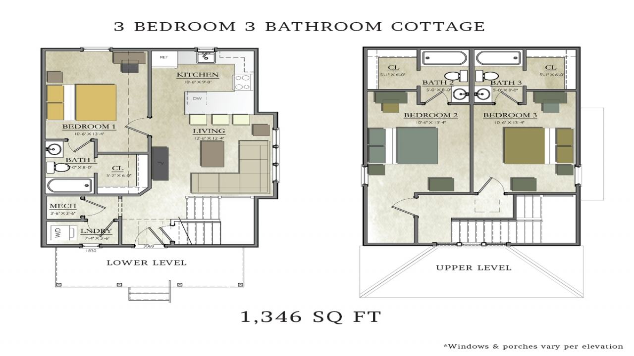 3 bedroom 2 bath cottage plans 3 bedroom 2 bath house for 3 bedroom 3 bath house plans