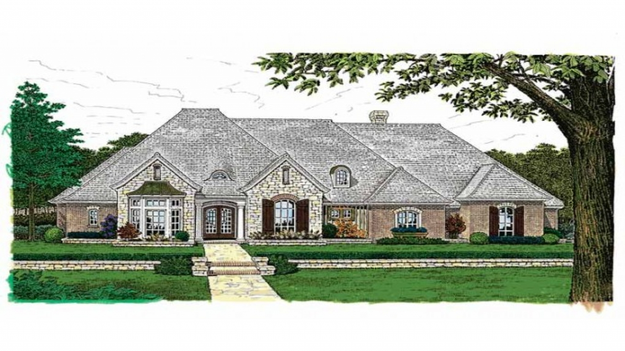 Country cottage house plans french country house plans one for House plans for one story homes