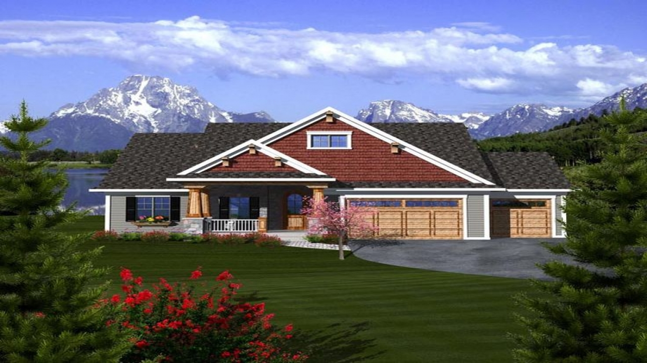 Craftsman ranch house plans with 3 car garage craftsman for Ranch house with garage