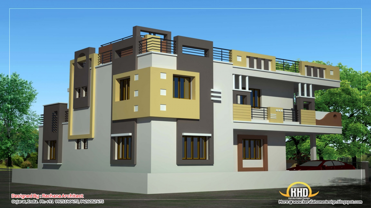 Duplex house elevation designs luxury duplex designs for Duplex cottage plans