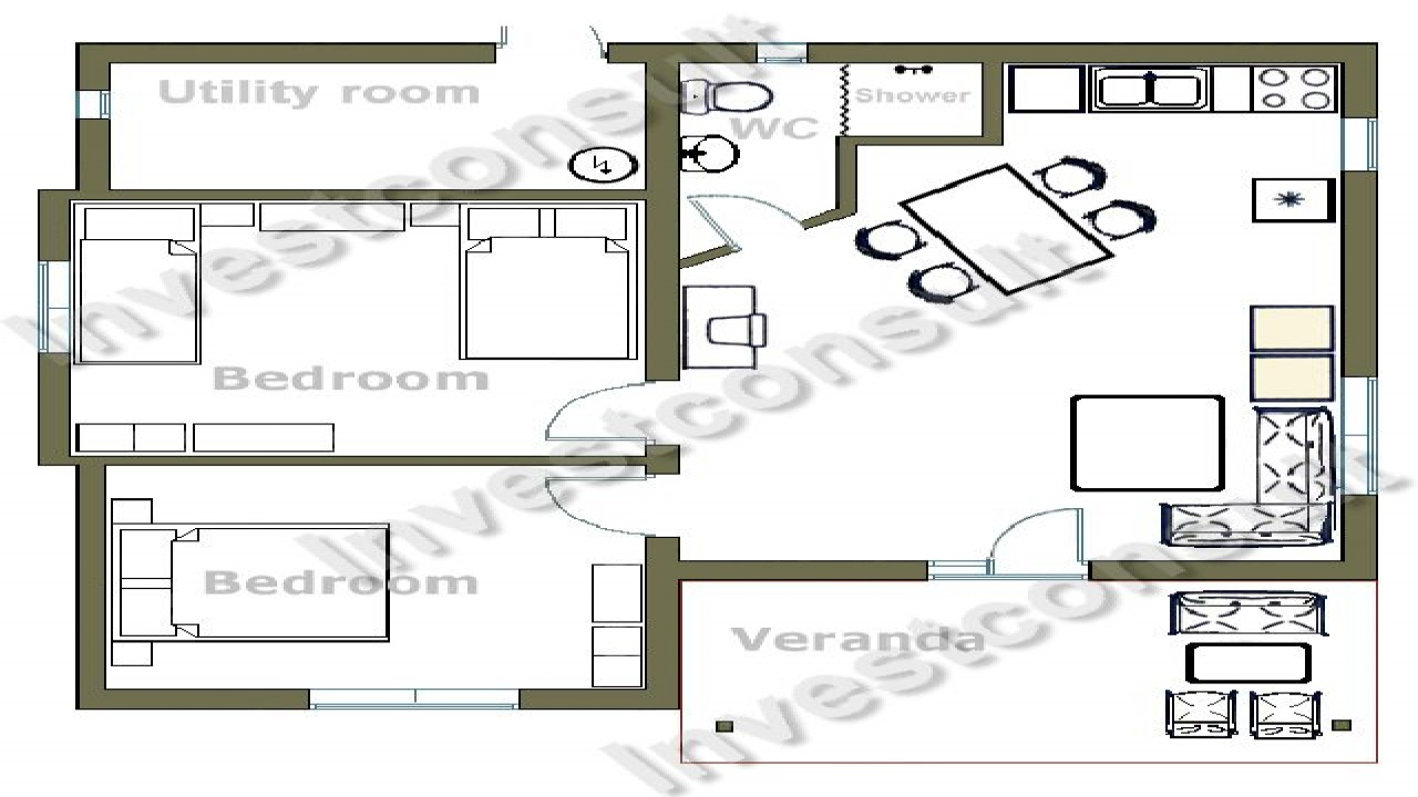 Kitchen on the front two bedroom house plans small two for Two bedroom plan