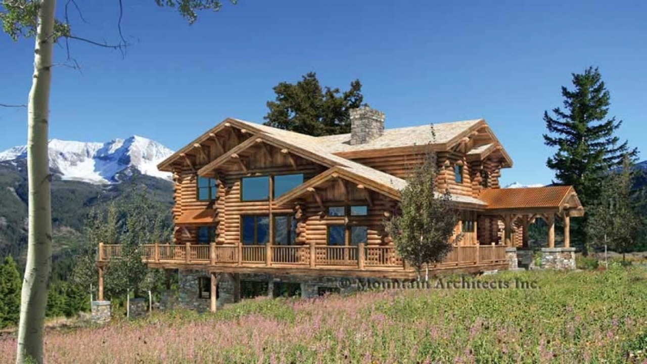Little log cabins floor plans log cabin floor plans with for Log homes with wrap around porch