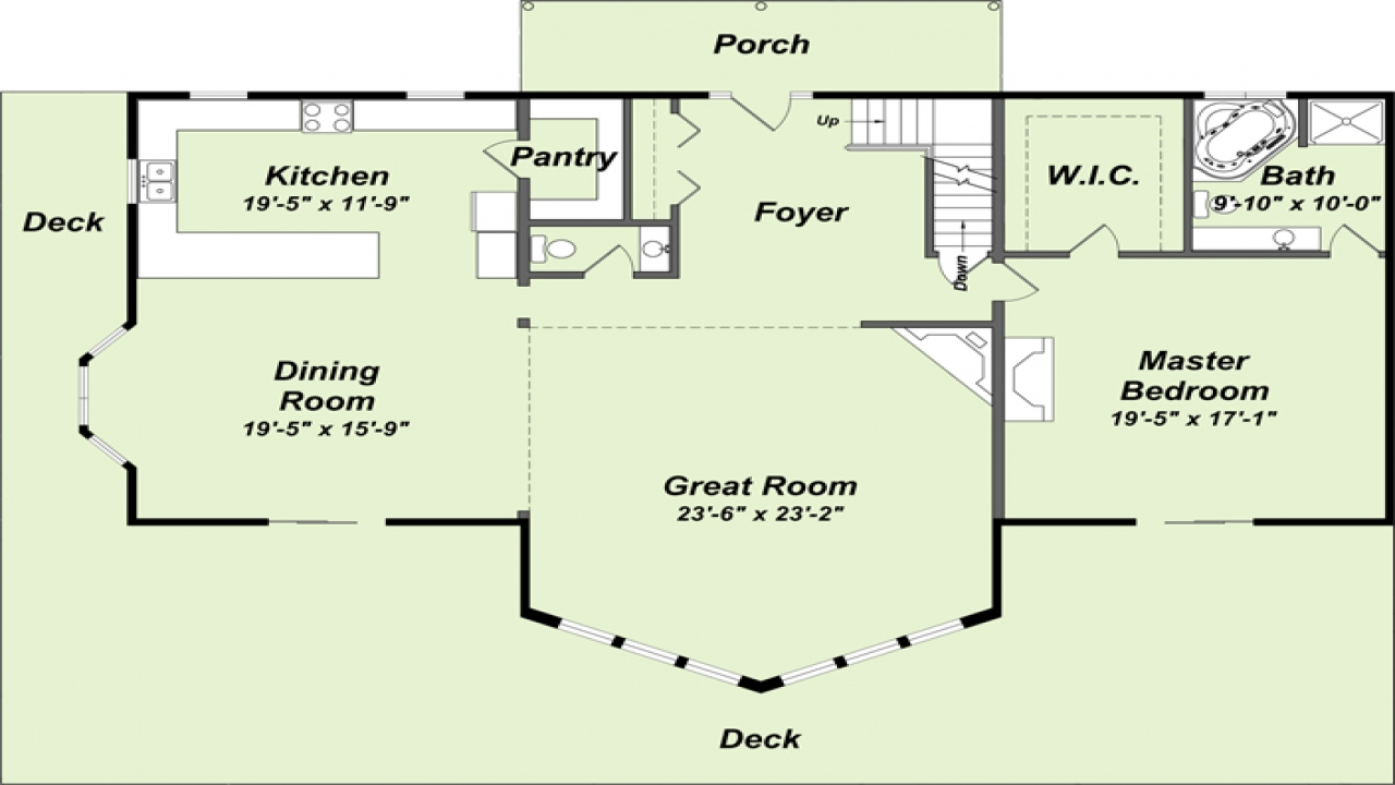 Ranch floor plans log homes log home floor plans mountain for Log cabin ranch floor plans