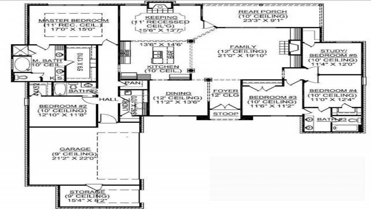 1 5 story house plans with basement 1 story 5 bedroom for Cape cod house plans with basement
