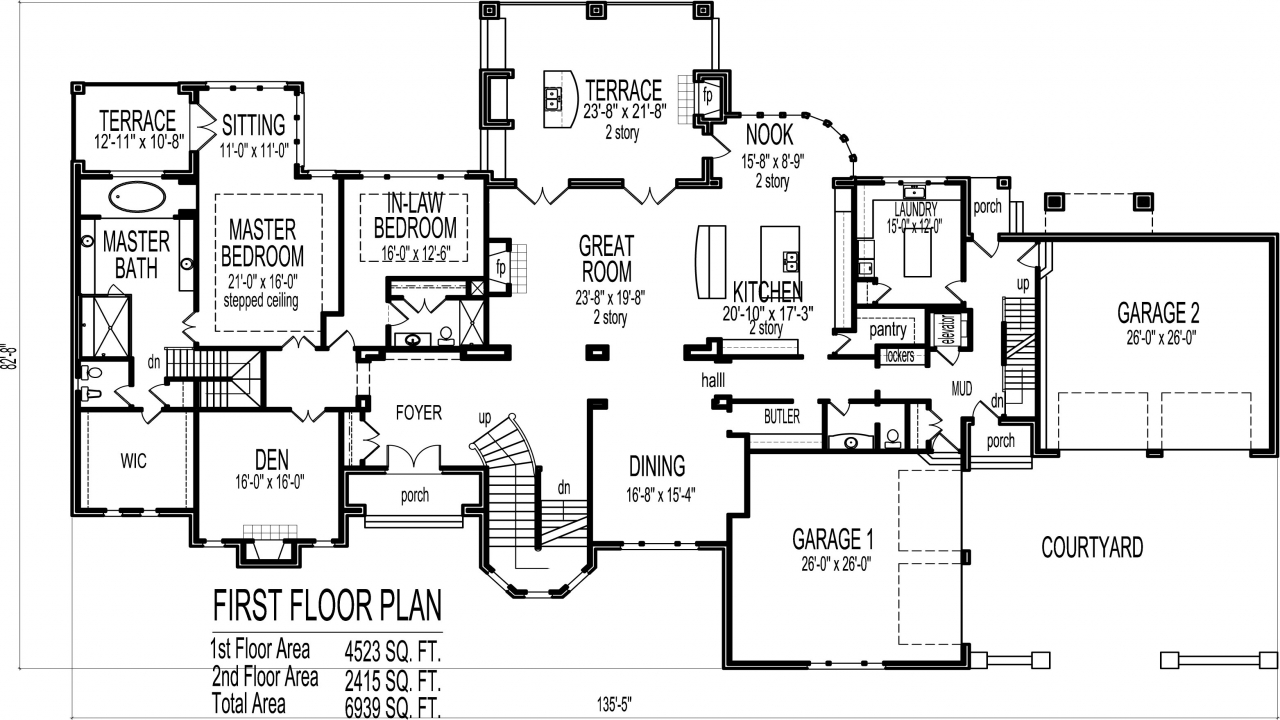 6 bedroom house plans blueprints luxury 6 bedroom house for Six bedroom floor plans