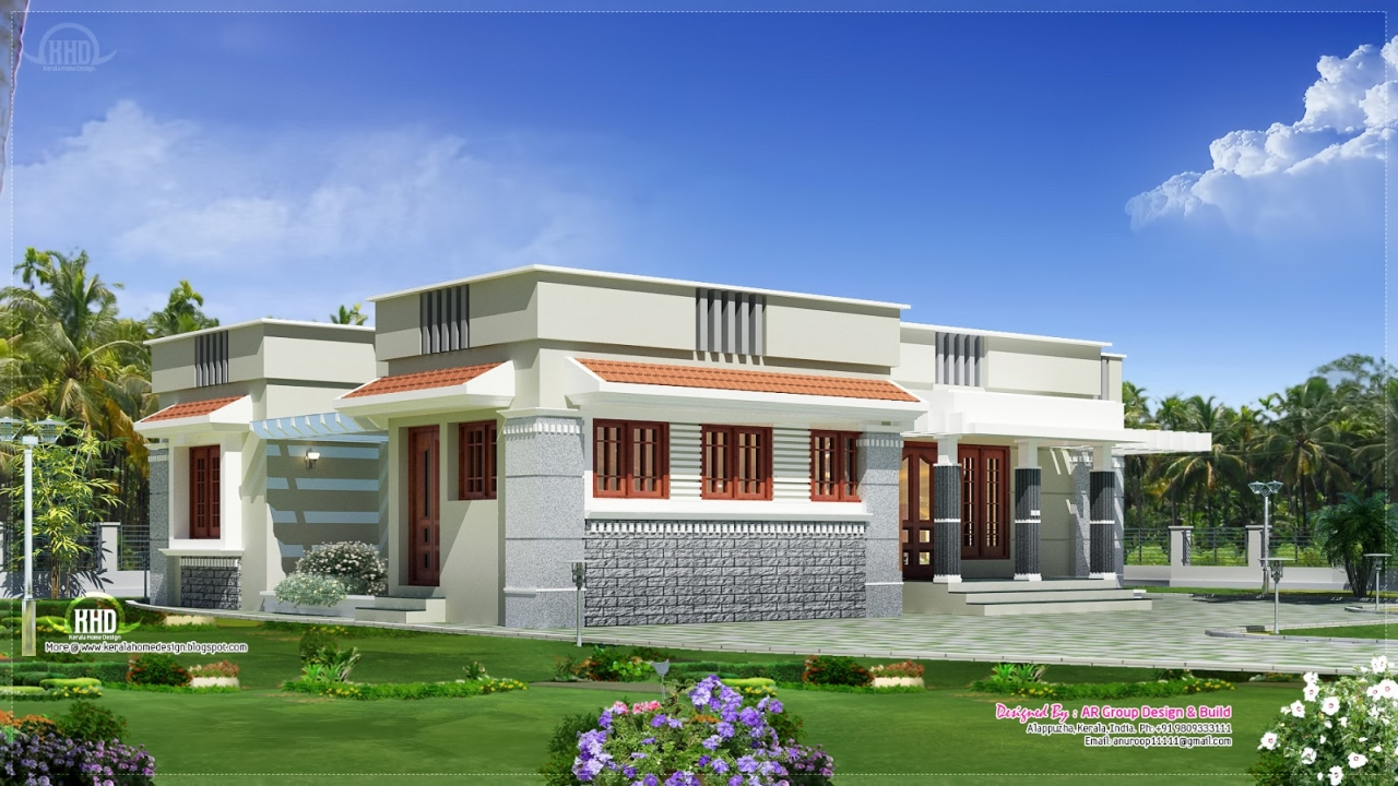 Flat Roof Single Story House Plans Rustic Flat Roof Single Story 6 Bedroom Home Designs