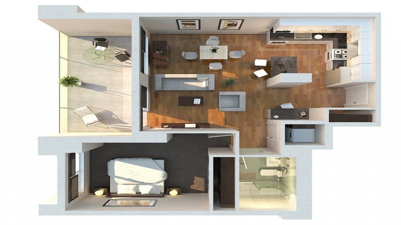 Large 1 bedroom apartment floor plans luxury 1 bedroom for Single bedroom apartment design