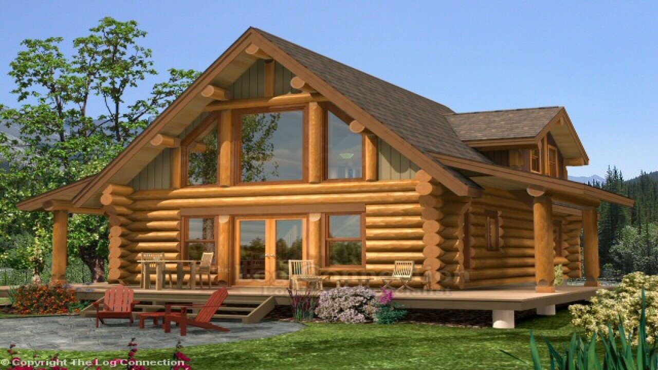 Small log home with loft log home plans and prices log for Log cabin house plans with garage