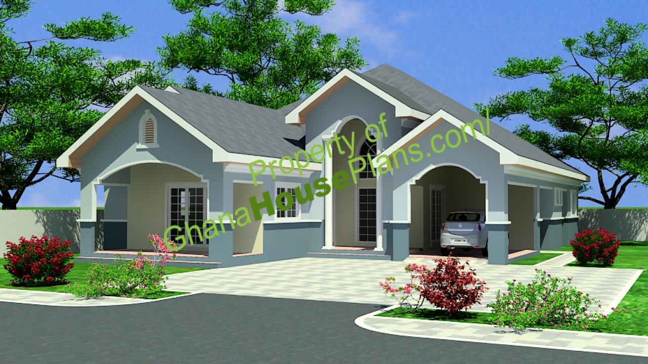 Storey 4 bedroom house plans in ghana double storey house for Single storey home designs