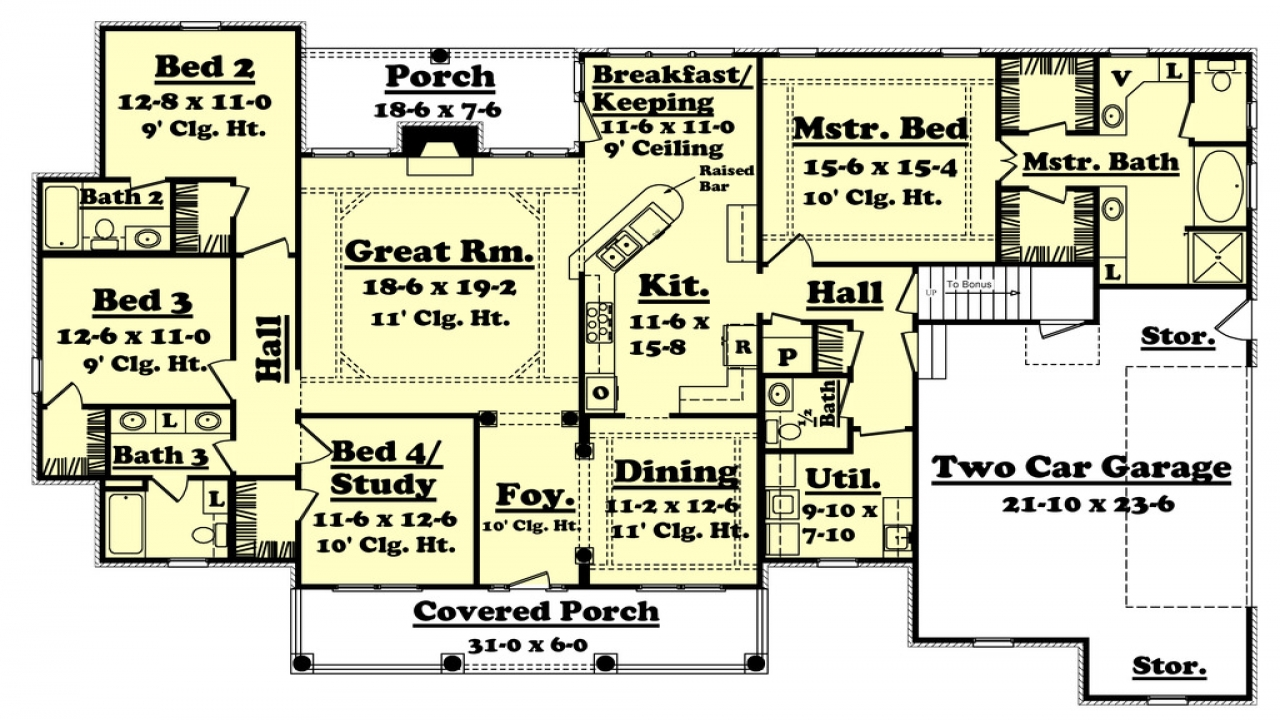 2500 sq ft house plans 4 bedroom contemporay modern home for Floor plans 2500 square feet