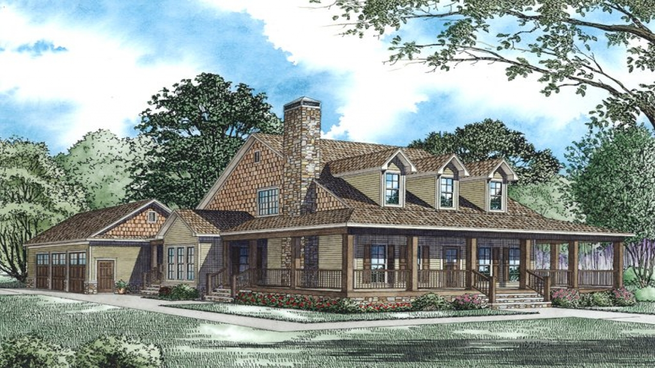 Cabin house plans with wrap around porch rustic cabin for Cottage house plans with porch