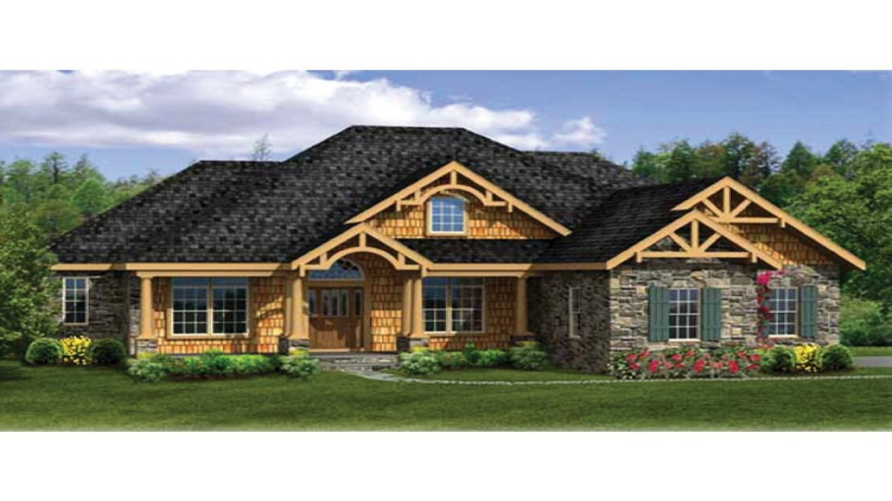 Craftsman house plans with walkout basement modern Modern ranch house plans