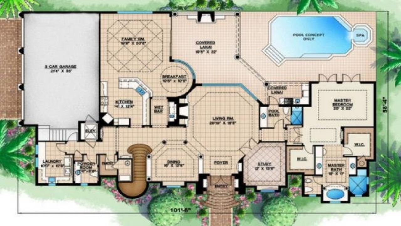 Tropical house designs and floor plans caribbean tropical for Caribbean house designs