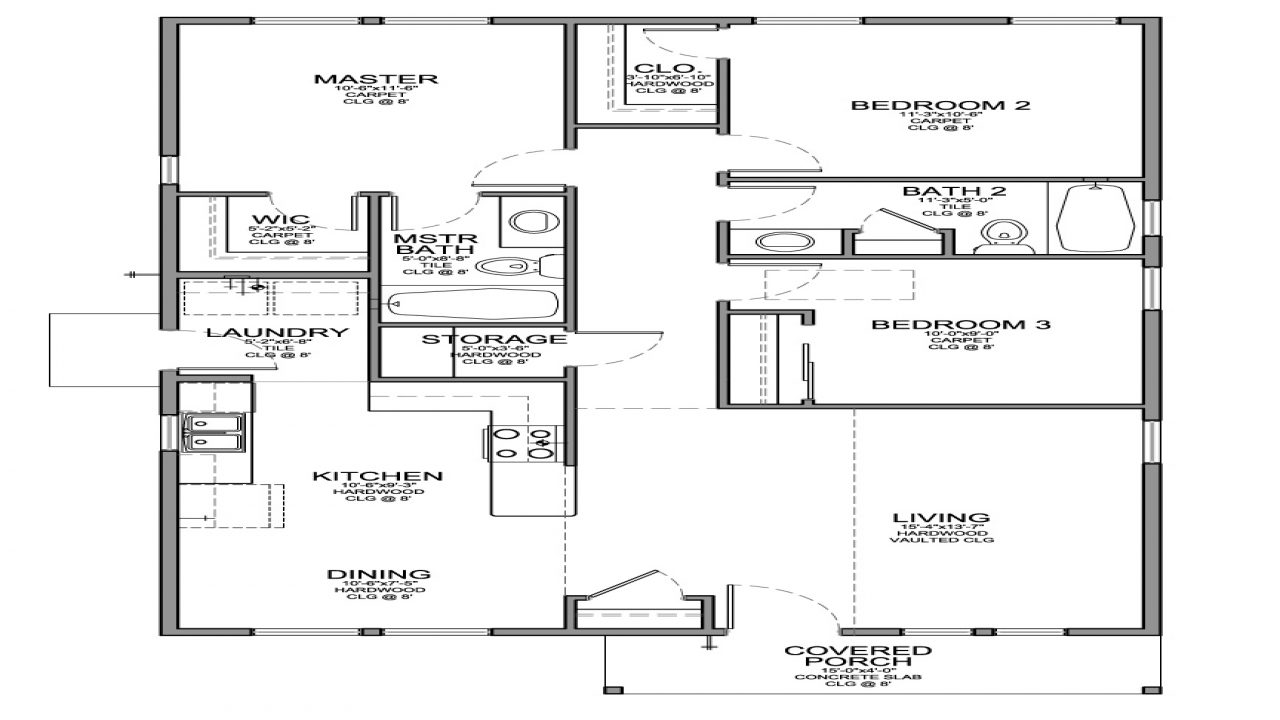 2 bedroom house with garage small 3 bedroom house floor for Small house plans with garage