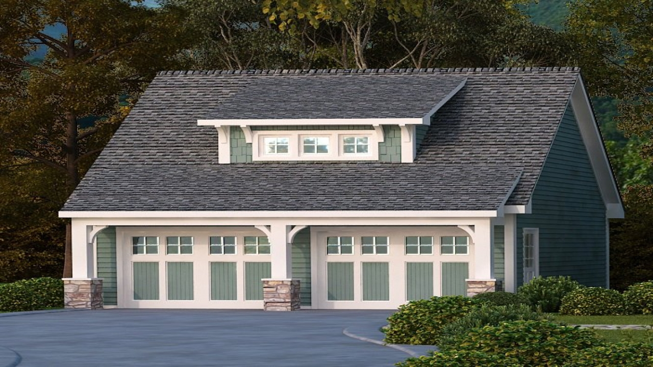 Craftsman style detached garage plans house plans with for House plans with breezeway to guest house