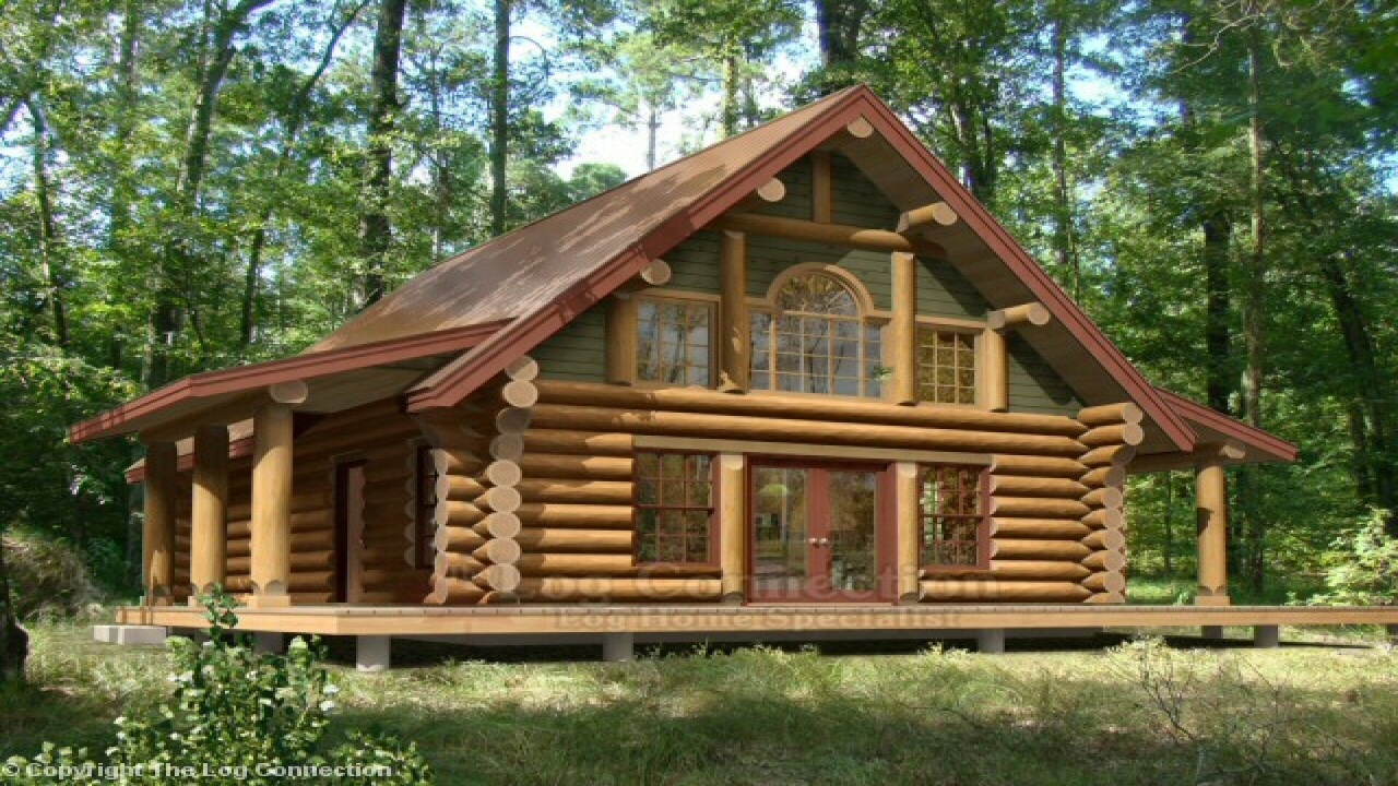 Log cabin house plans with open floor plan log cabin home for Home building plans and cost