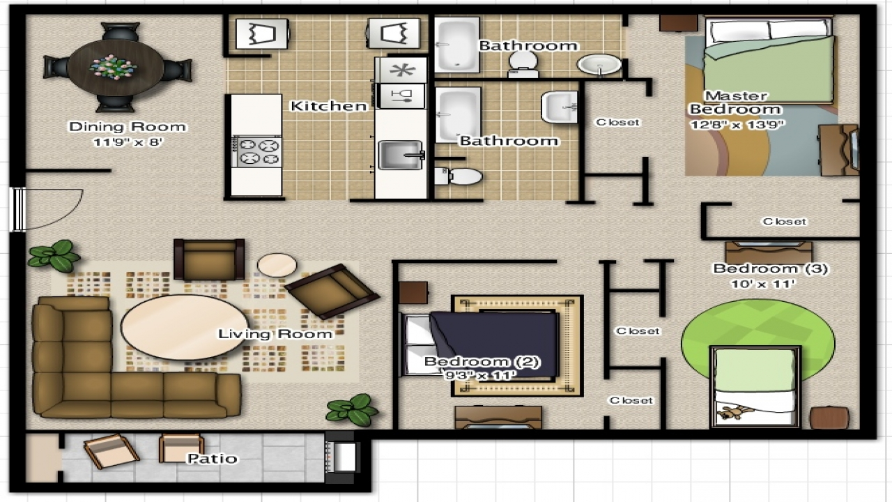 3 Bedroom 2 Bathroom House Plans 3 Bedroom 2 Bathroom