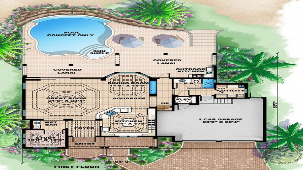 Beach houses site plan beach house floor plan tropical for Tropical elevated house designs