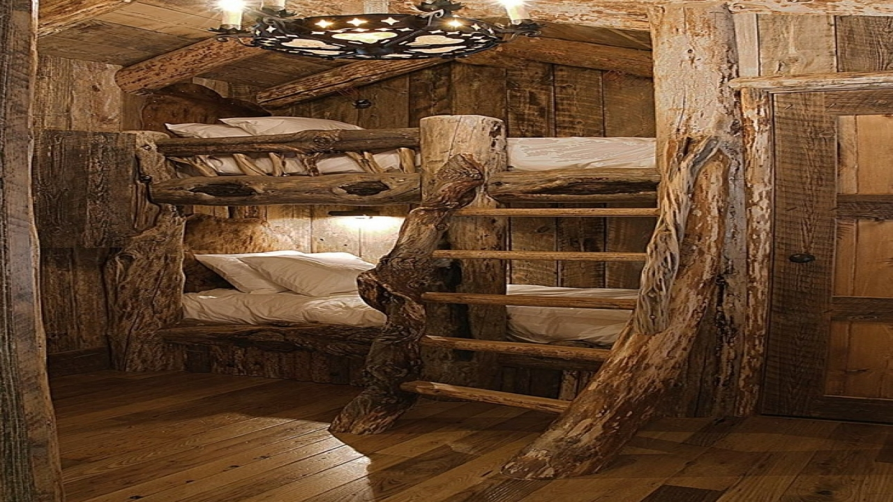 Discount log bunk beds log cabin bunk beds 3 bed log for Log cabin style bunk beds