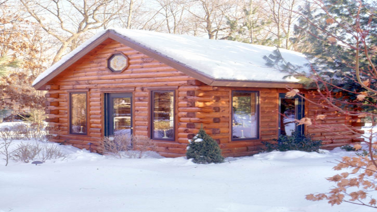 Log cabin exterior finishes color log cabin homes real for Log home pictures exterior