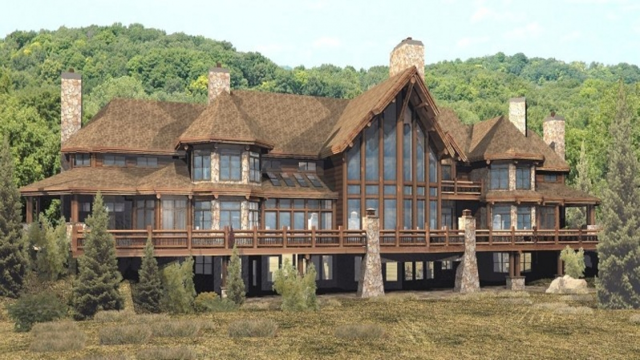 Luxury log cabin home plans luxury log cabin homes for Log and stone house plans