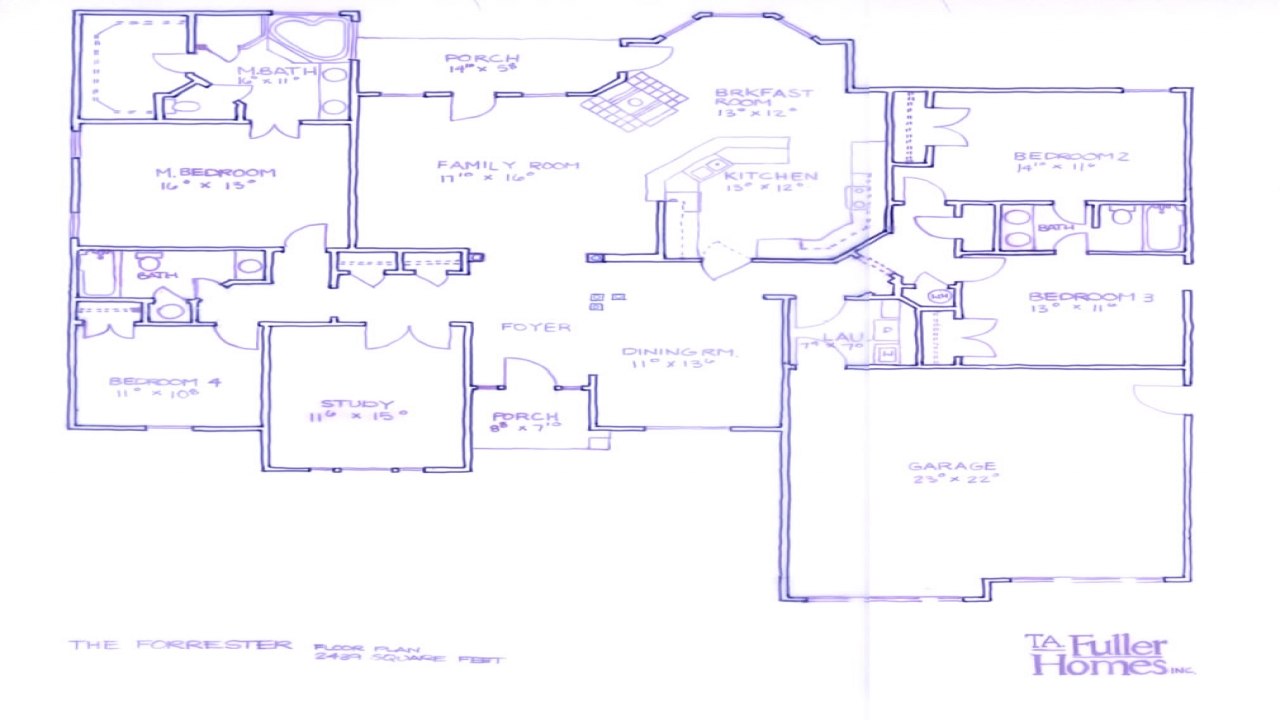 Single level home floor plans single floor ranch style for One level ranch style house