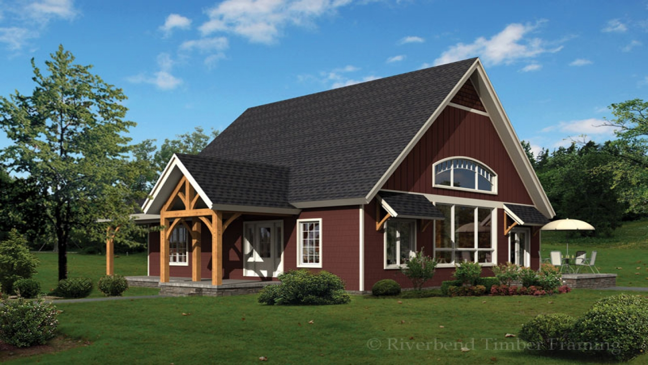 Timber frame cabin designs timber frame cottage house for Timber frame ranch home plans