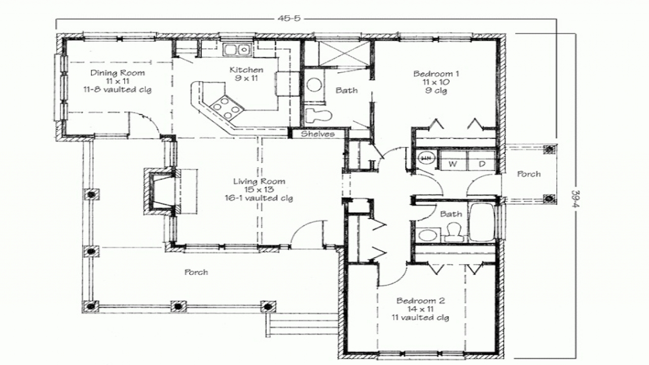 Two bedroom house simple floor plans 2 bedroom 2 bathroom house plans small simple house plans for Two bedroom house design plans