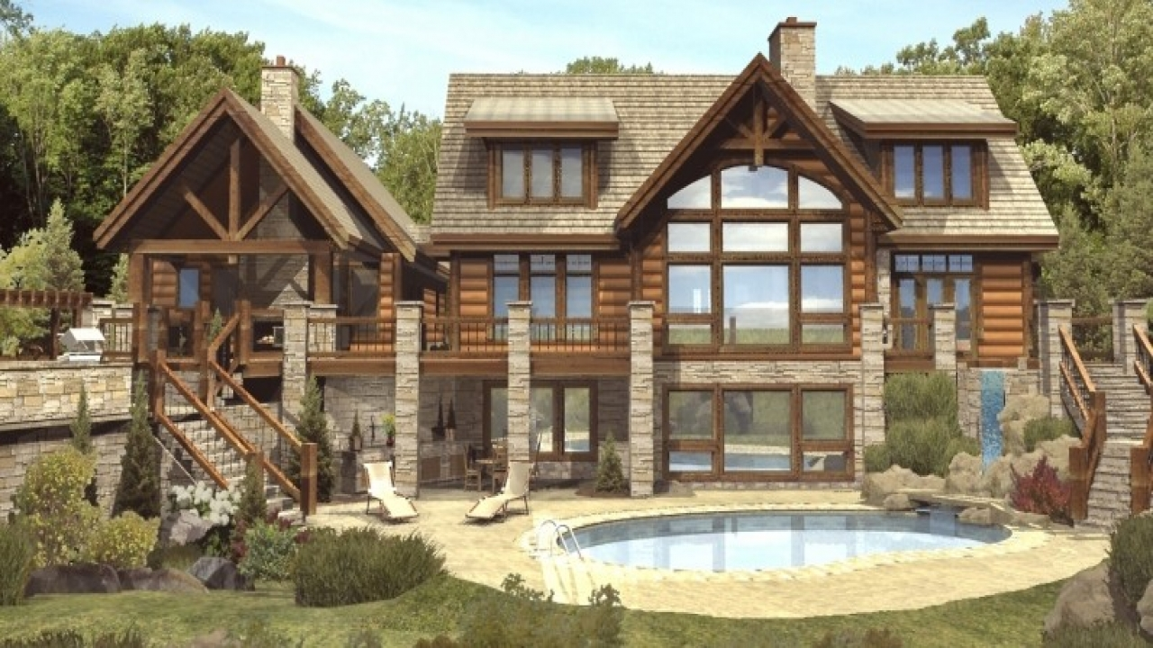 Luxury mountain log homes luxury log cabin home plans a for A frame log cabin