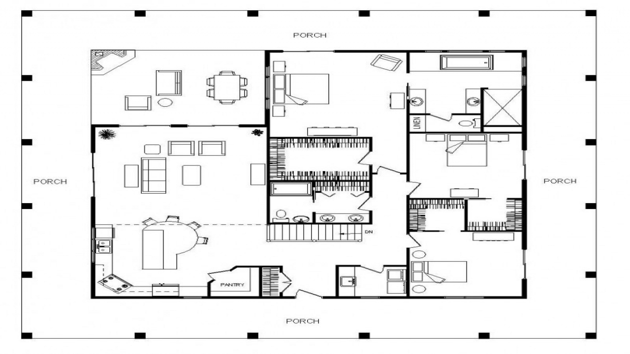 One Level House Plans With Porch