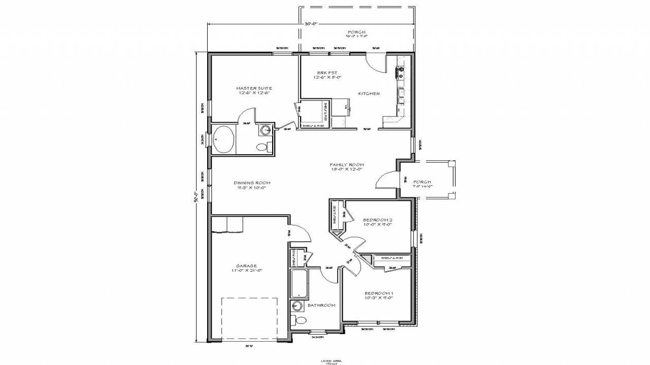 Small house floor plan small cottage house plans small for Cottage ranch house plans