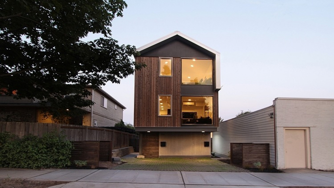 Steep narrow lot modern house modern narrow lot house for Modern home designs for narrow lots