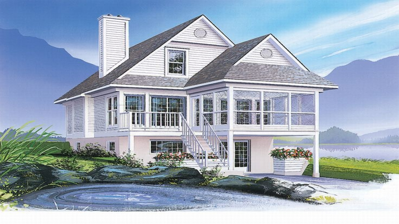 Floor plans narrow lot lake coastal house plans narrow for Narrow lake house plans