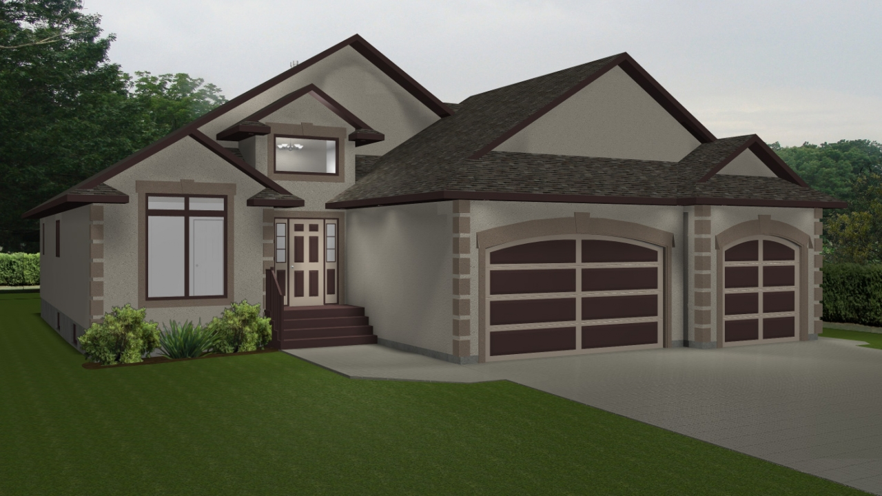 House plans with 3 car garage lake house plans bungalow for Home designs 3 car garage