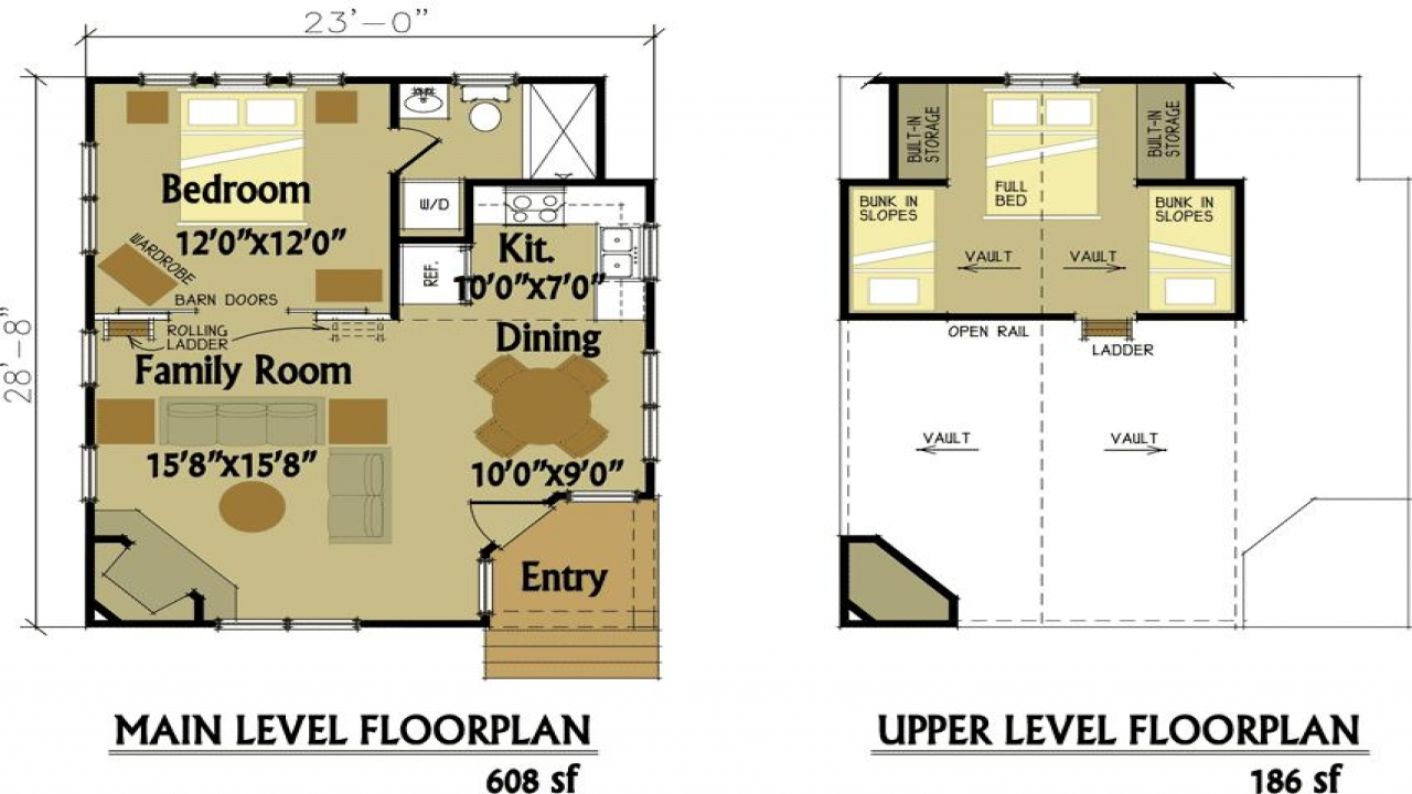 Small cabin floor plans with loft 2 bedroom cabin floor for 1 bedroom cottage floor plans